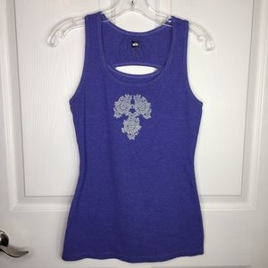 REI Purple Cut Out Tank Top White Graphics